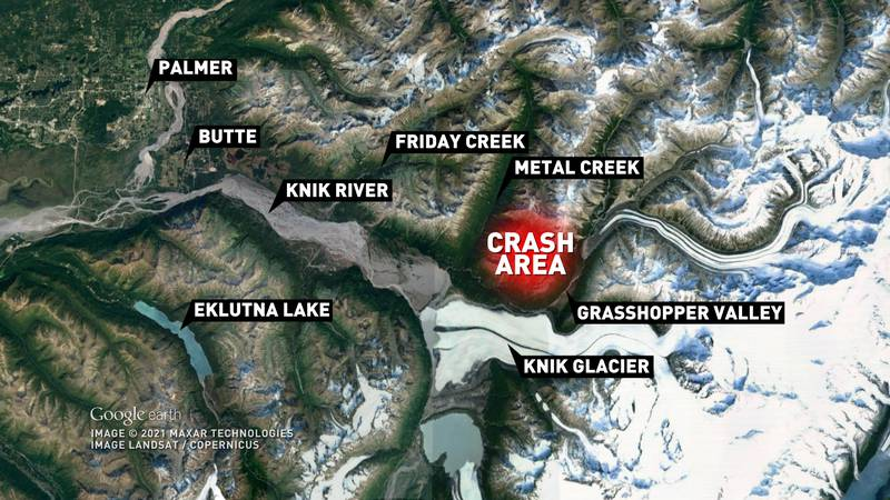Rescuers found one survivor after a helicopter went down in the area near Knik Glacier on March...