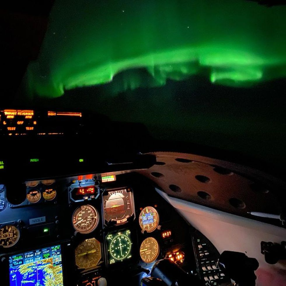 Aurora seen from the pilot's perspective at 36-thousand feet_James Hoffman 4-7-21