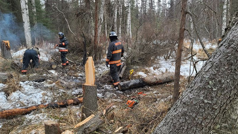 Houston Volunteer Firefighters put out a ground fire started illegally on public land in late...