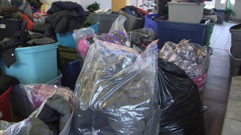 Some of the donated clothing at JBER's Dallas Community Center
