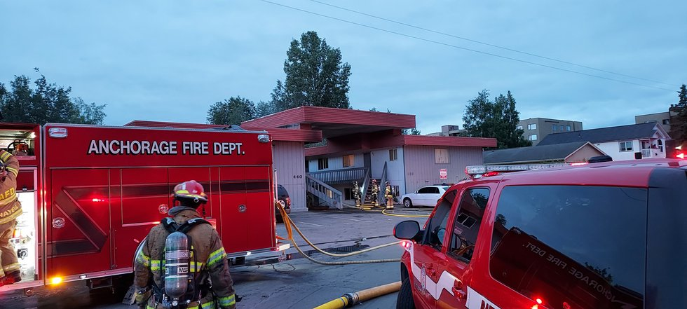 Firefighters respond to a building fire near the intersection of 11th Avenue and Eagle Street...