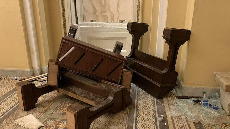 Senate furniture is overturned after rioters ransacked the U.S. Capitol on Wednesday.