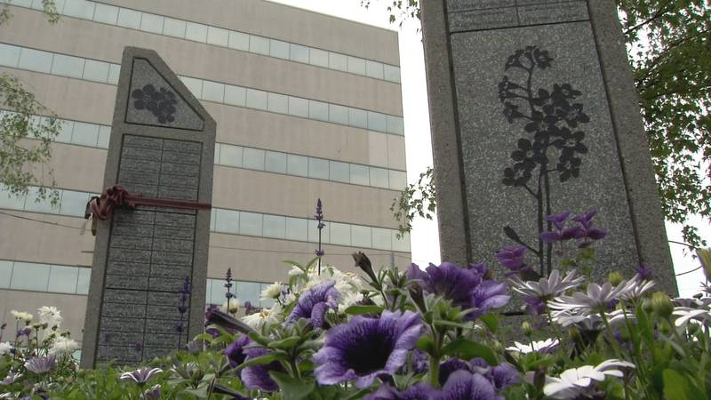 Hostetler Park in downtown Anchorage is dedicated to the memory of homicide victims.