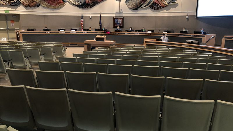The Anchorage Assembly meets in the Assembly chambers at the Loussac Library on Aug. 27, 2020.