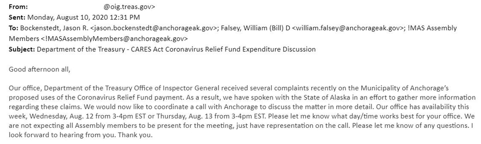 The US Department of Treasury sent this email to Anchorage officials Monday afternoon.