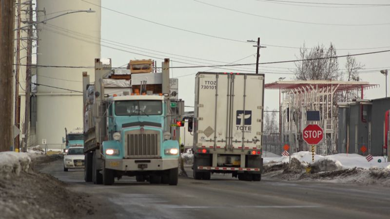 Freight trucks coming and going from the Port of Alaska in Anchorage.