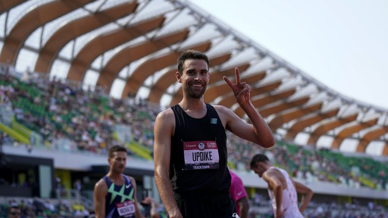 Isaac Updike celebrates after winning the first heat of the men's 3,000-meter steeplechase at...