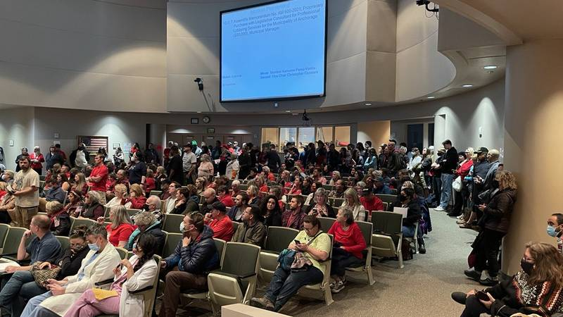 Members of the public fill the Anchorage Assembly Chambers on Tuesday, Sept. 28, 2021 in...