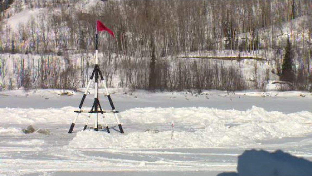 The Nenana Ice Class ends with the tripod tips. Photo of the tripod from 2017.