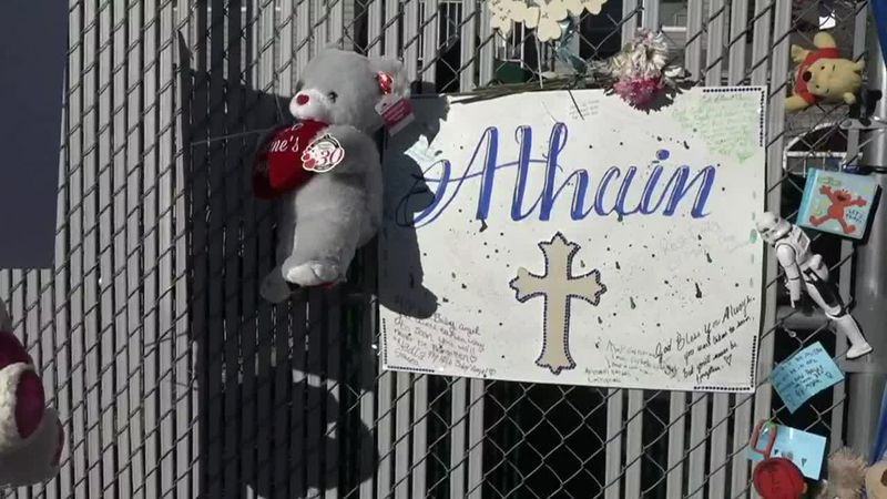 A memorial was set up near the site where a Wyoming toddler was killed.
