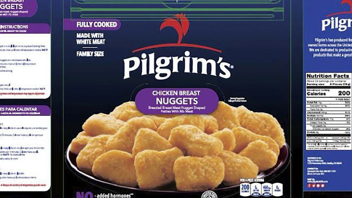 Pilgrim's Pride is recalling nearly 60,000 pounds of chicken nuggets because they may contain...