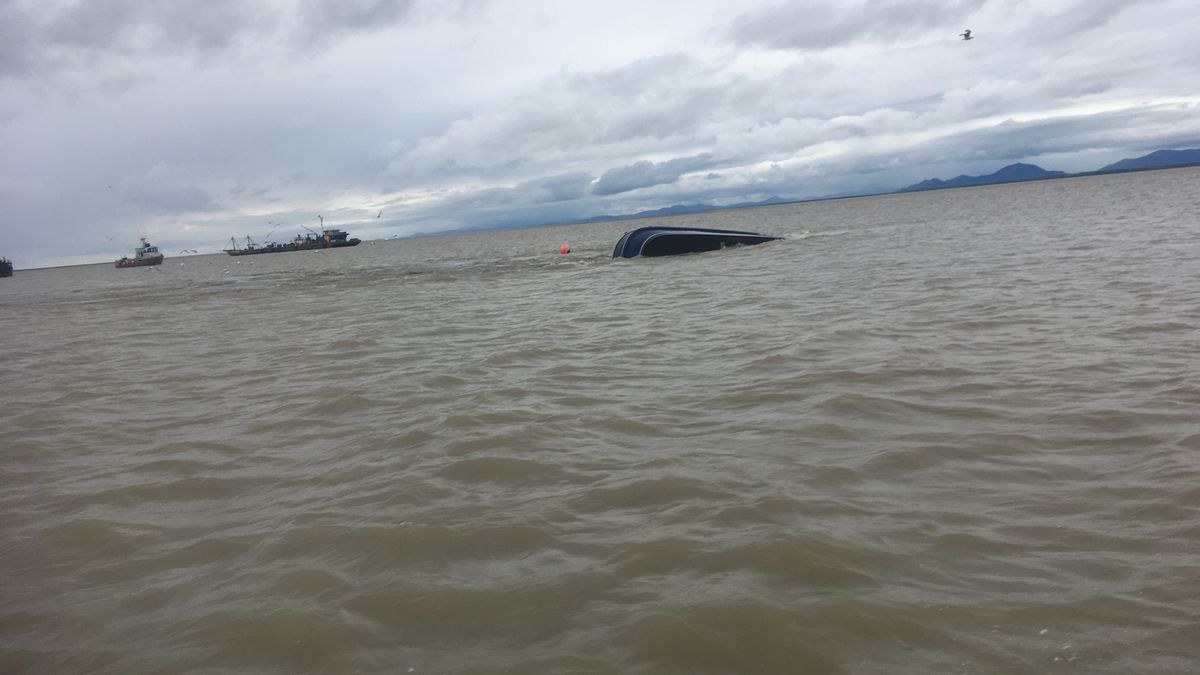 Fuel sheen from the overturned Pacific Knight has closed commercial fishing in the Nushagak District. (Viewer Submitted Photo)