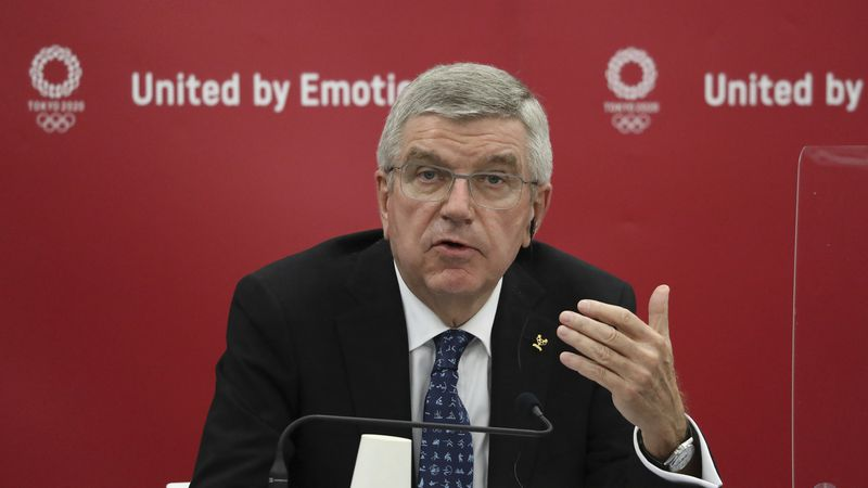In this Nov. 16, 2020, file photo, Thomas Bach, International Olympic Committee (IOC)...