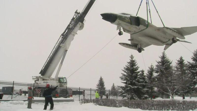 ITG: F-4 Phantom moved from JBER entrance for maintenance