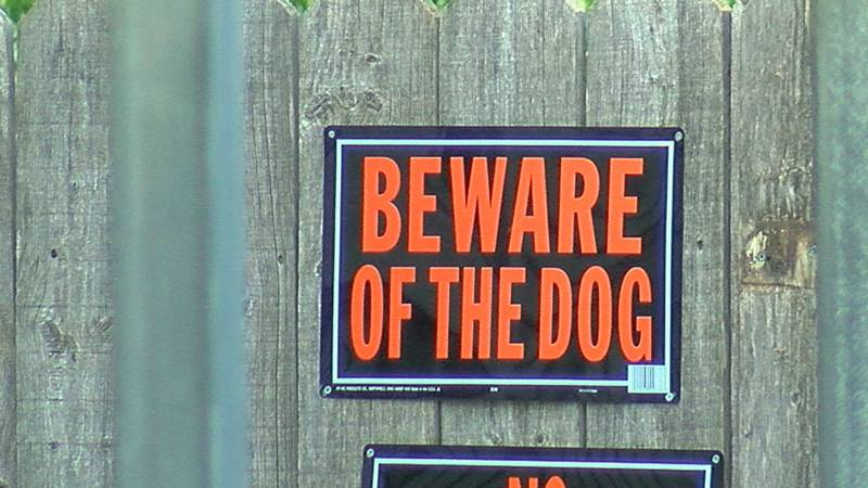 """A """"beware of the dog"""" sign."""
