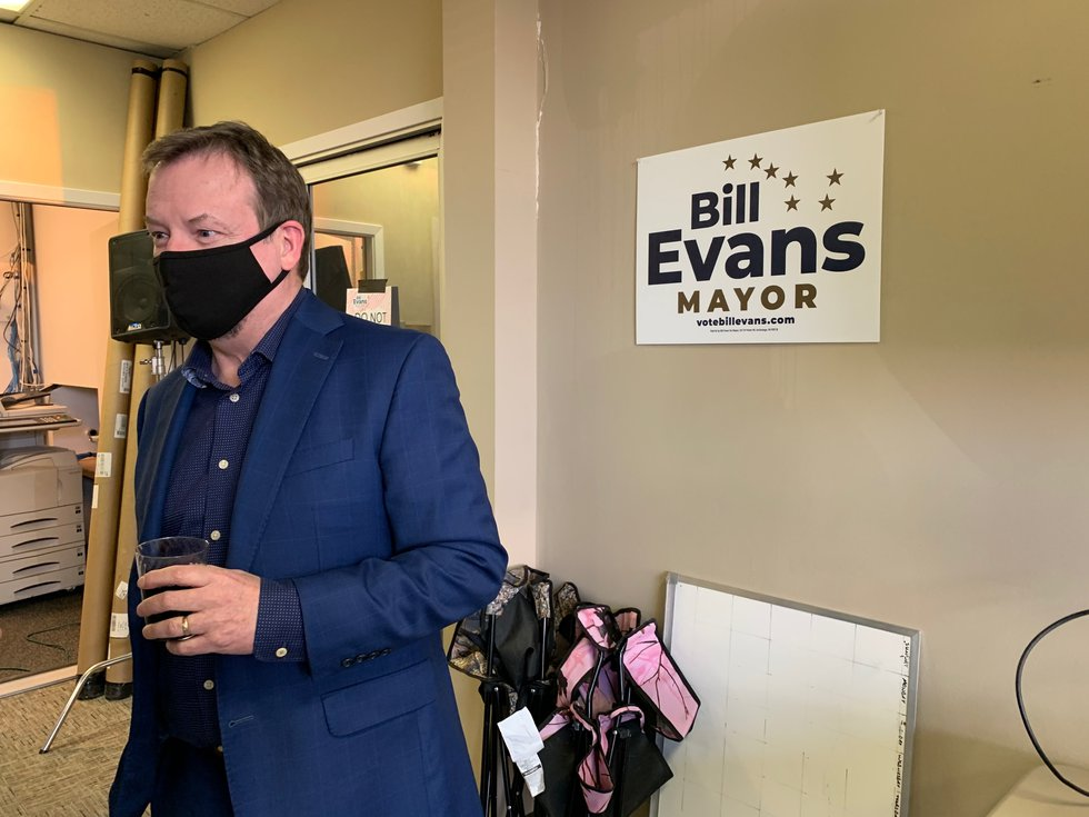 Anchorage mayoral candidate Bill Evans awaits preliminary election results Tuesday night with...