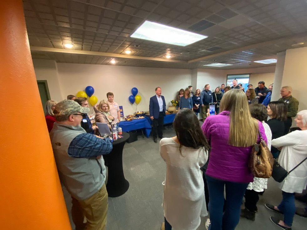 Anchorage mayoral candidate Dave Bronson thanks campaign volunteers as the polls close at his...