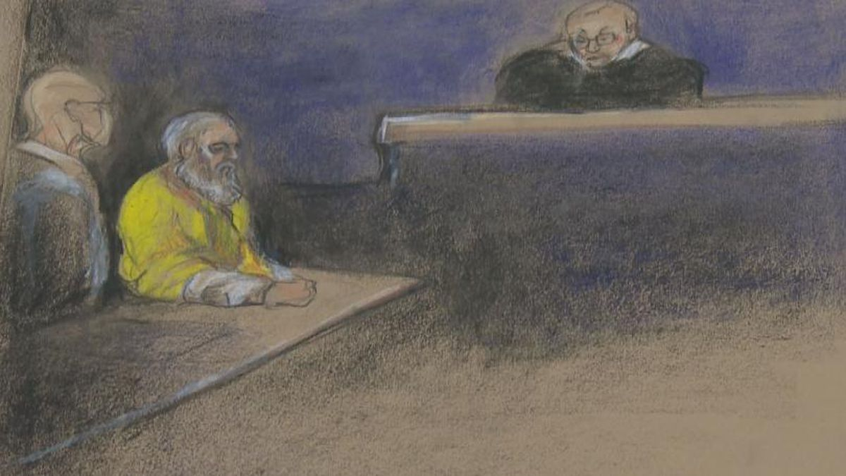A sketch artist's depiction of Wells on the stand during his 2014 trial.