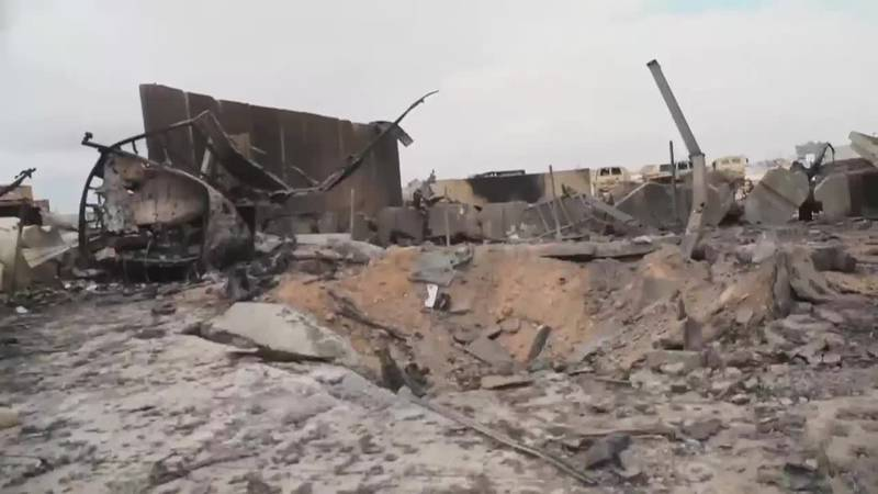 Some of the damage at the Al Asad Air Base in Iraq which housed U.S. troops during Iran missile...