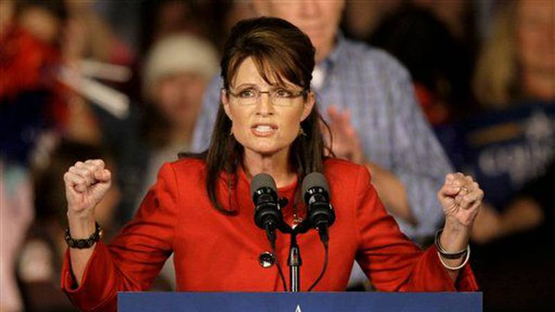 In this file photo, former Republican vice presidential candidate and Alaska Gov. Sarah Palin...