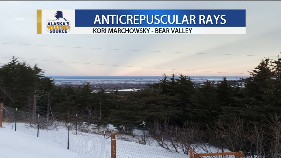 Anticrepuscular Rays in Anchorage as pictured by Kori Marchowsky