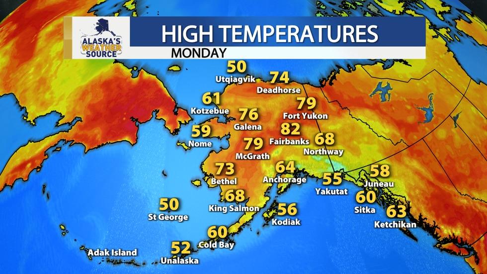High temperatures Monday.