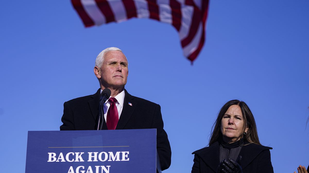 In this Jan. 20, 2021, file phot, former Vice President Mike Pence speaks after arriving back...