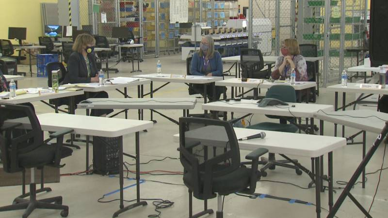 A public session of canvass takes place during the mayoral runoff election in Anchorage.