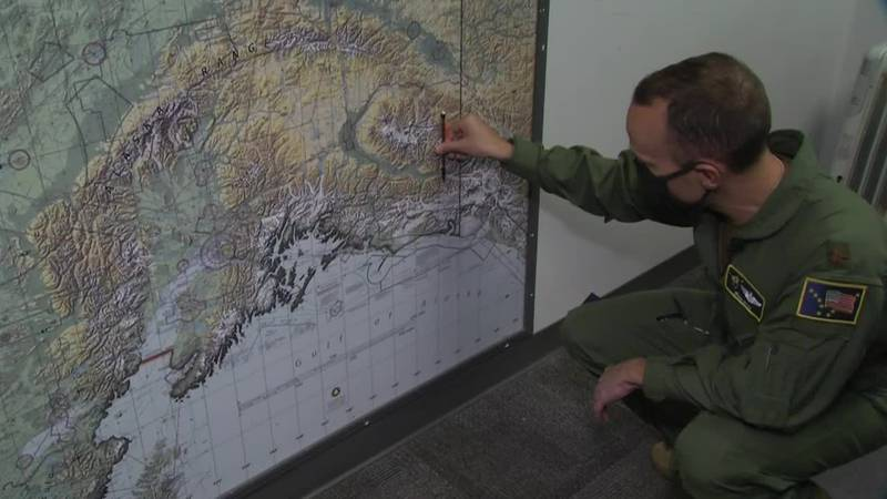 Major Kevin Kelly shows where two rescues took place over the Memorial Day weekend.