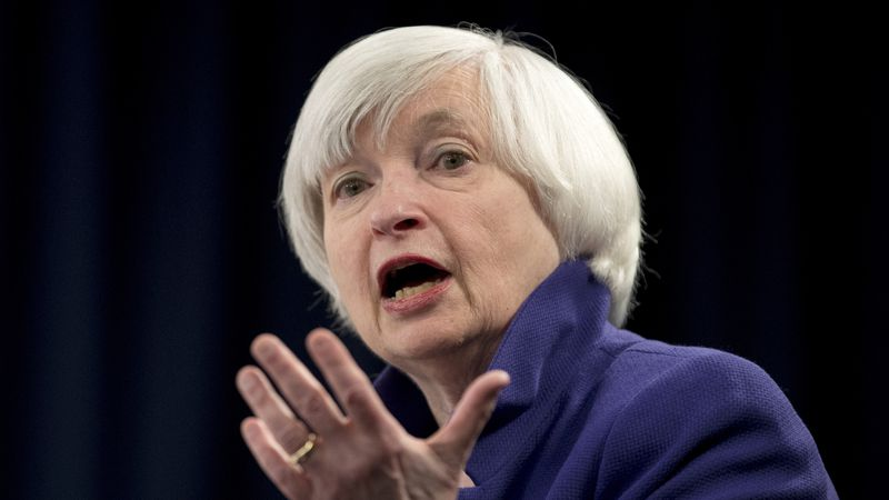 FILE - In this Dec. 13, 2017 file photo, Federal Reserve Chair Janet Yellen speaks during a...