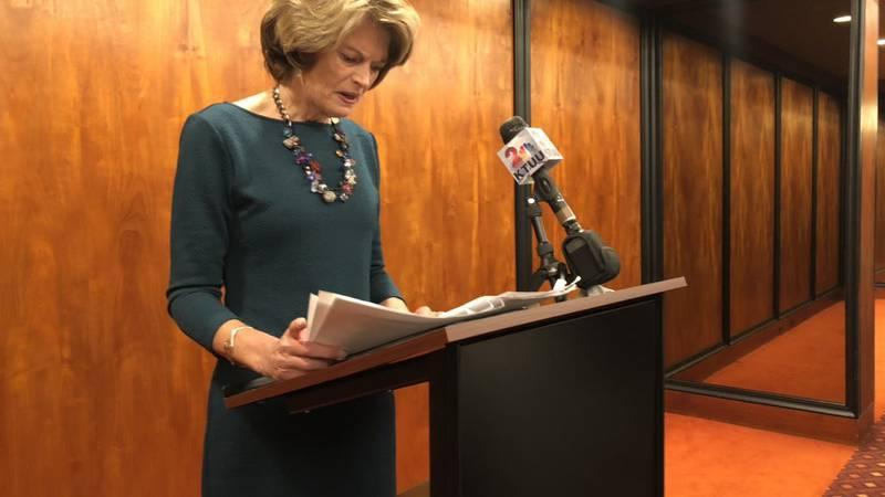 Sen. Lisa Murkowski speaks to the media.