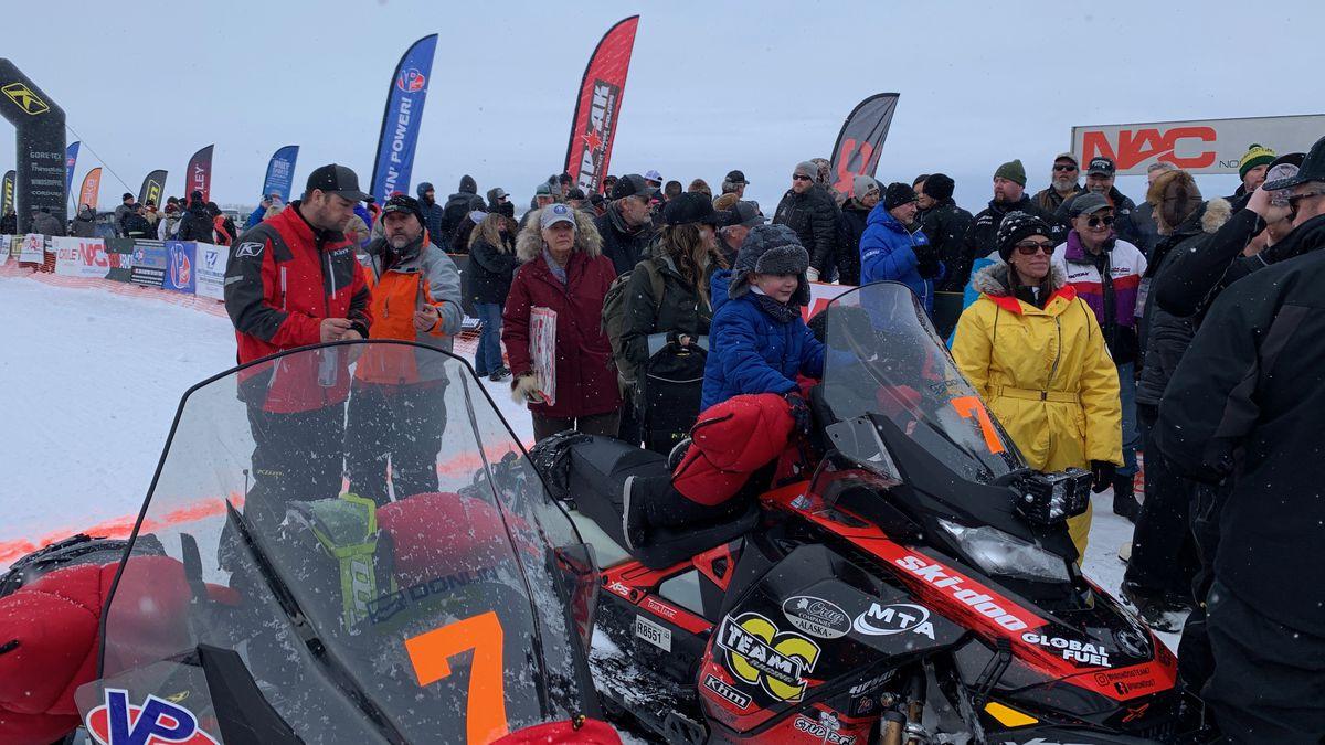 Tyler Aklestad and Nick Olstad at the 2020 Iron Dog finish line in Big Lake, Feb. 22, 2020...