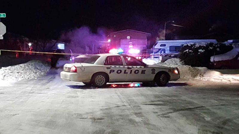 The scene of a officer shooting that left a suspect dead. Photo by KTUU's Mike Nederbrock.