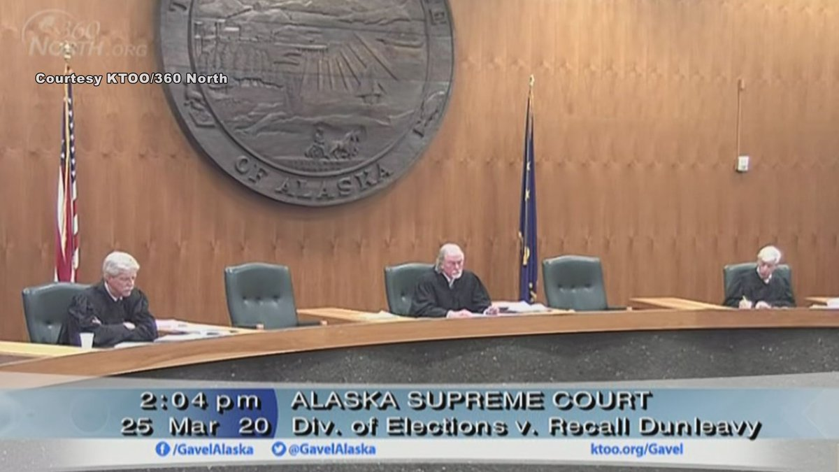 Three Alaska Supreme Court justices hear the oral arguments in the Recall Dunleavy case....