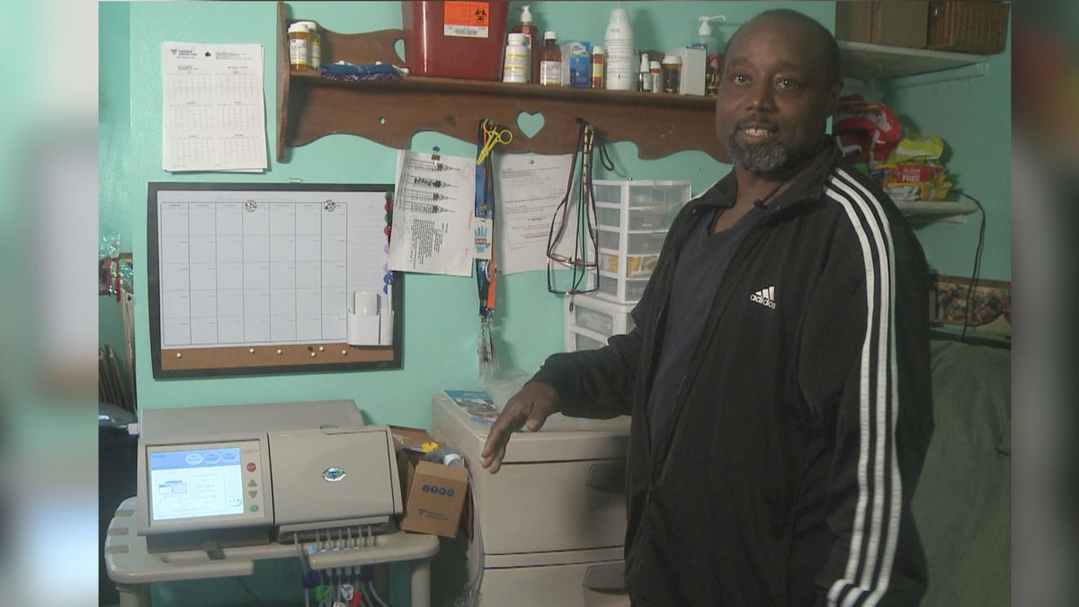 Gary Allen Moore shows how his home dialysis unit functions Sunday July 28. (KTUU)
