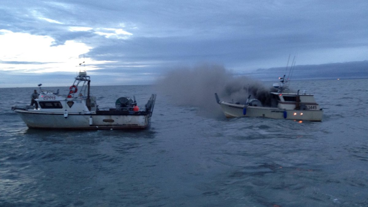 The scene of a rescue in Cook Inlet on Thursday morning after an engine room fire on a fishing...