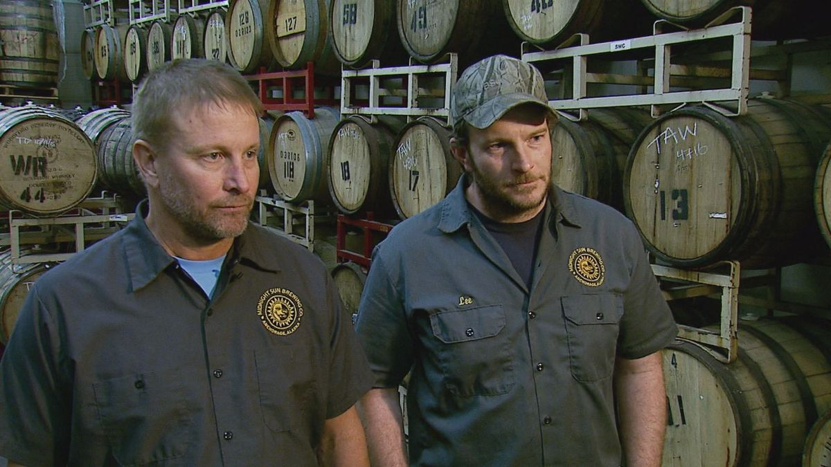 Mark Staples, president and founder of Midnight Sun Brewing Co., (left) and Lee Ellis, head...