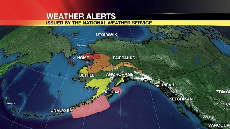 Much of western Alaska will be under a weather alert as a storm moves through Monday night.
