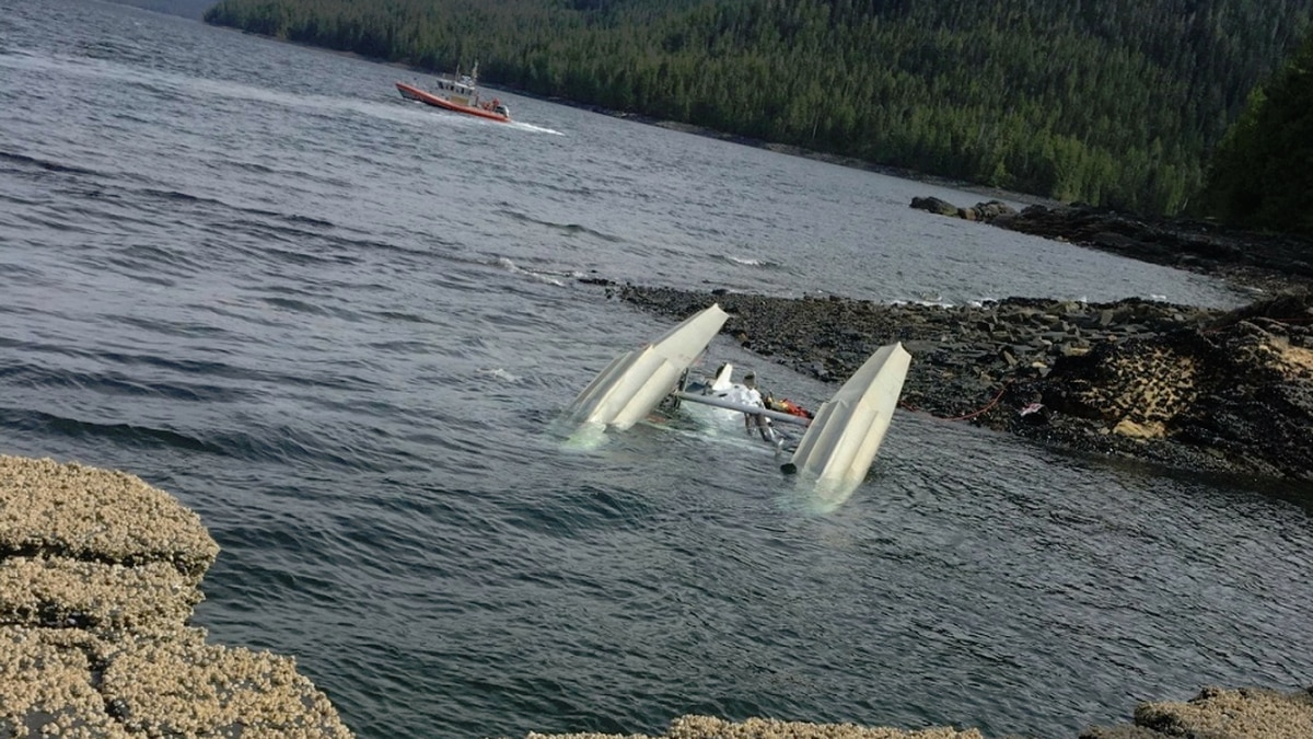 NTSB said the Mountain Air Services de Havilland plane was found upside down in the water. USCG photo courtesy of Ryan Sinkey.