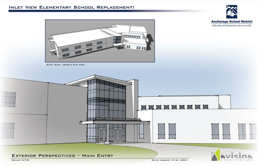 This image from an Anchorage School District presentation shows the proposed exterior of what a...