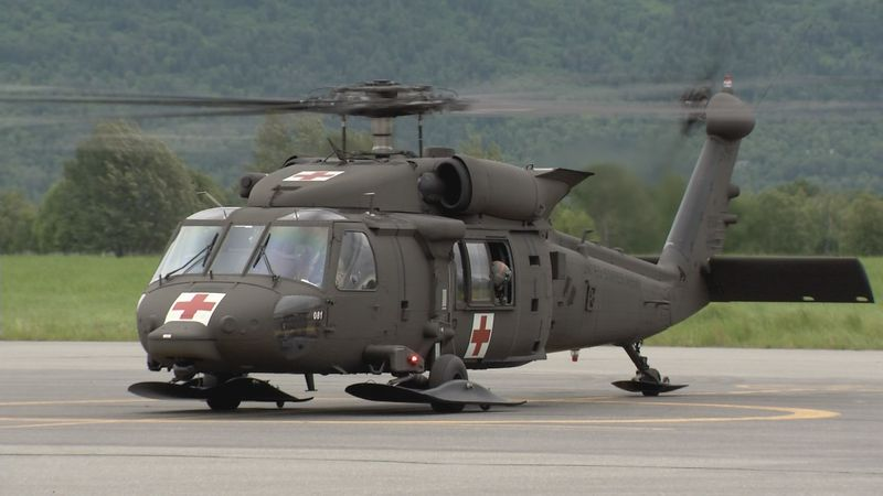An Alaska Army National Guard helicopter is staged at the Palmer Airport on Wednesday, June 16,...