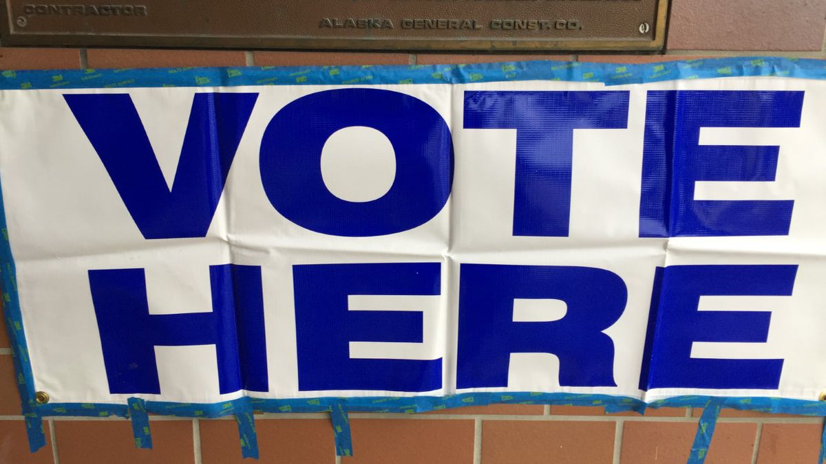 A sign at the Mears Middle School voting location, one of around 10 places effected by...