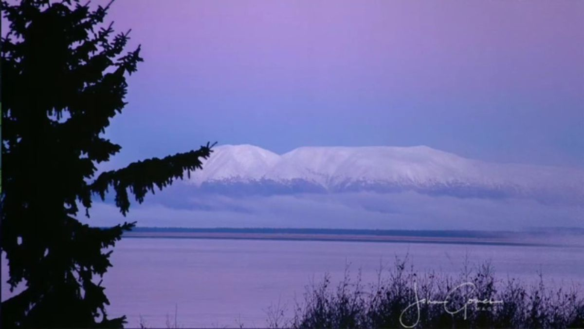 Beautiful shade of lavender over Sleeping Lady or Mount Susitna. Photo by John Gomes