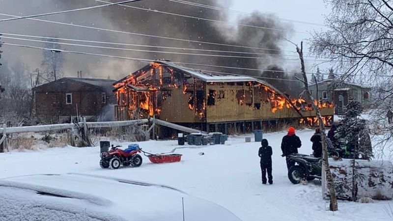 Fire burns building in Tuluksak.