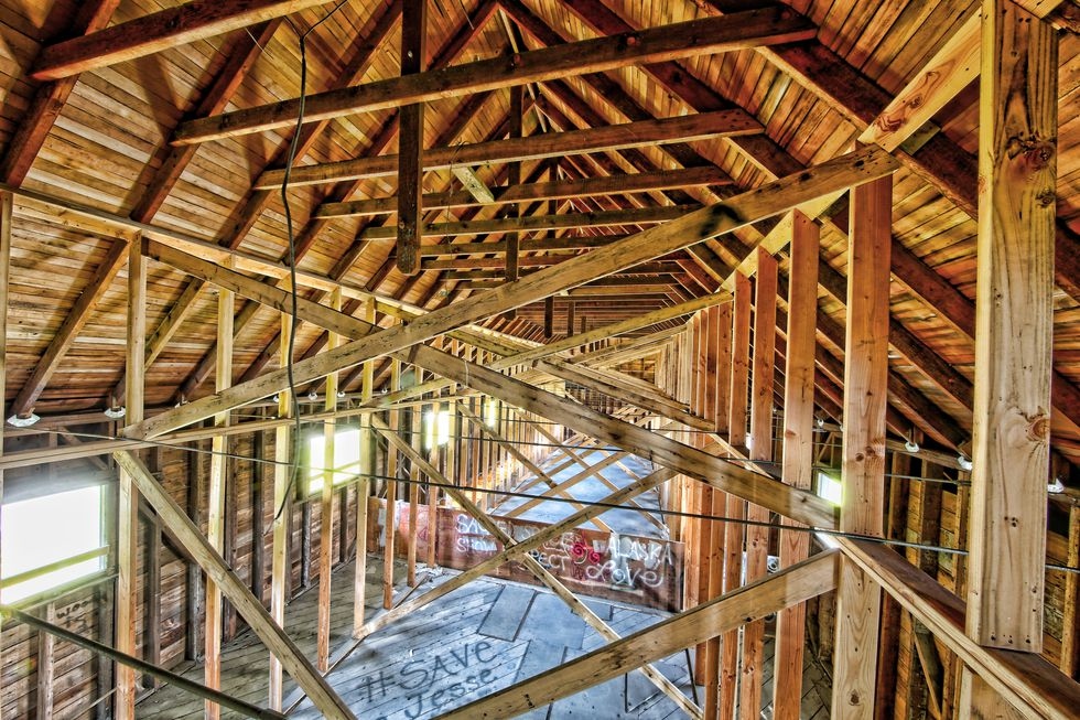 Images from Cobble Company showing what looks like restoration work done on framing in Jesse Lee Home.