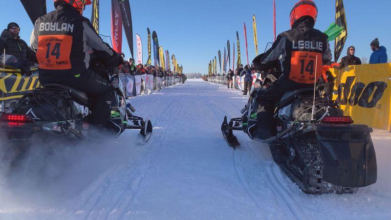 Iron Dog Team 14, Casey Boylan and Bryan Leslie at the start line on Big Lake.
