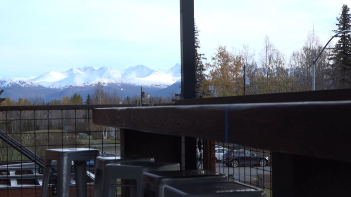 The view from the deck at the Rustic Goat on a chilly October day where plenty of snow can be...