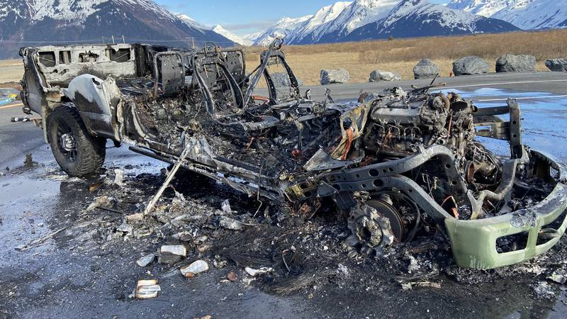 The truck is a total loss after it erupted in flames near Portage along the Seward Highway.