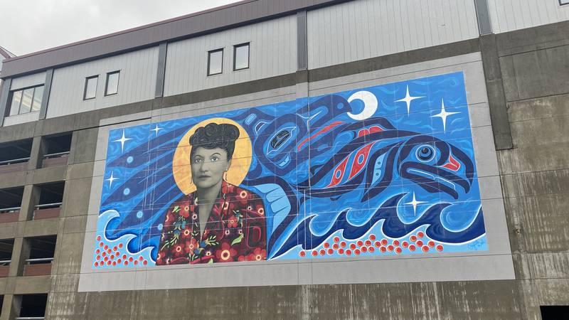 The Elizabeth Peratrovich mural in downtown Juneau on June 3, 2021.