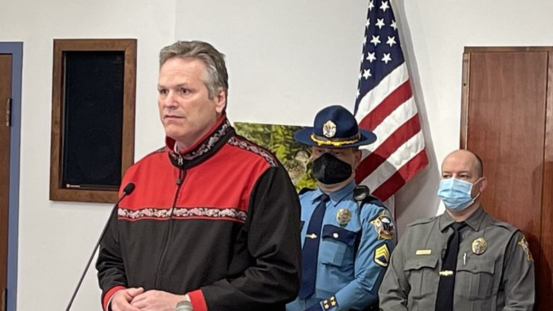Alaska Gov. Mike Dunleavy addresses a crowd in Kenai on April 6, 2021.